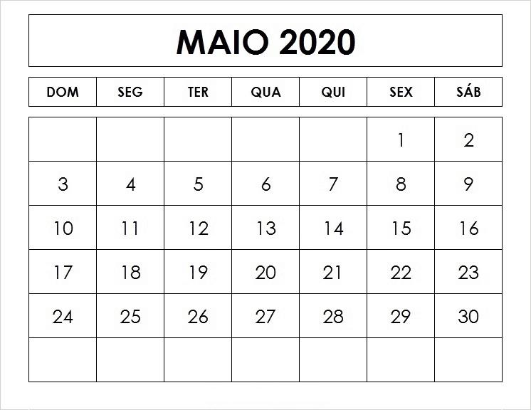 Calendário Maio 2020 Para Imprimir Gratuito
