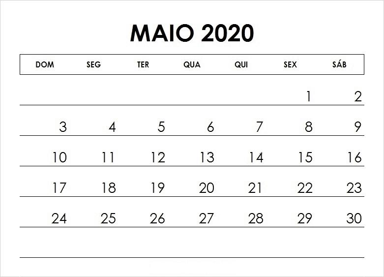 Calendário Maio 2020 Para Imprimir Livre