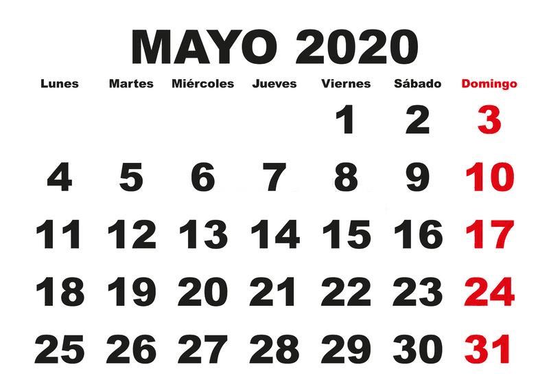 Calendário Maio 2020 Para Imprimir Notas