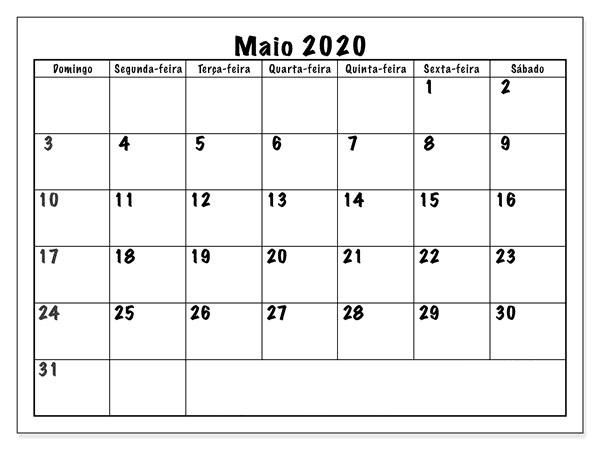 Calendário Maio 2020