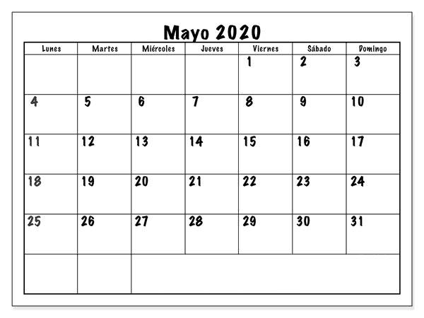 Calendario Mayo 2020 Diseño