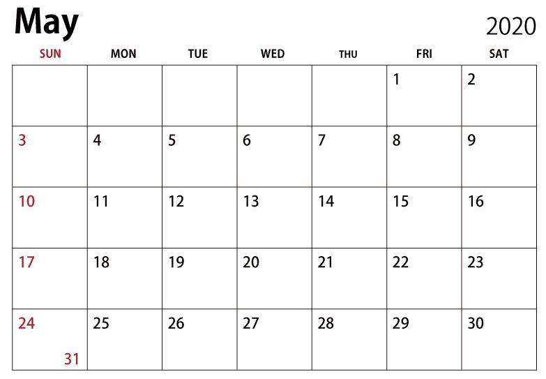 Calendario Mayo 2020 Grande