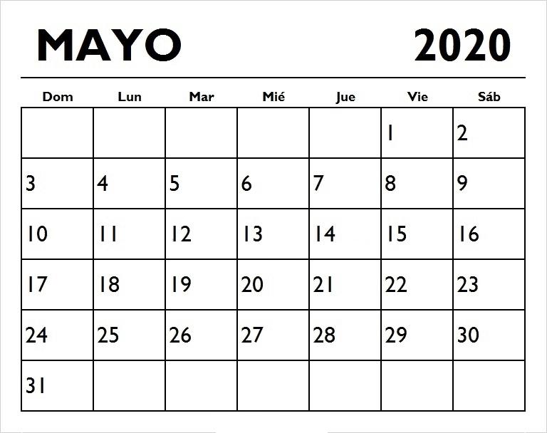 Calenadario Mayo 2020 Para Imprimir Editable