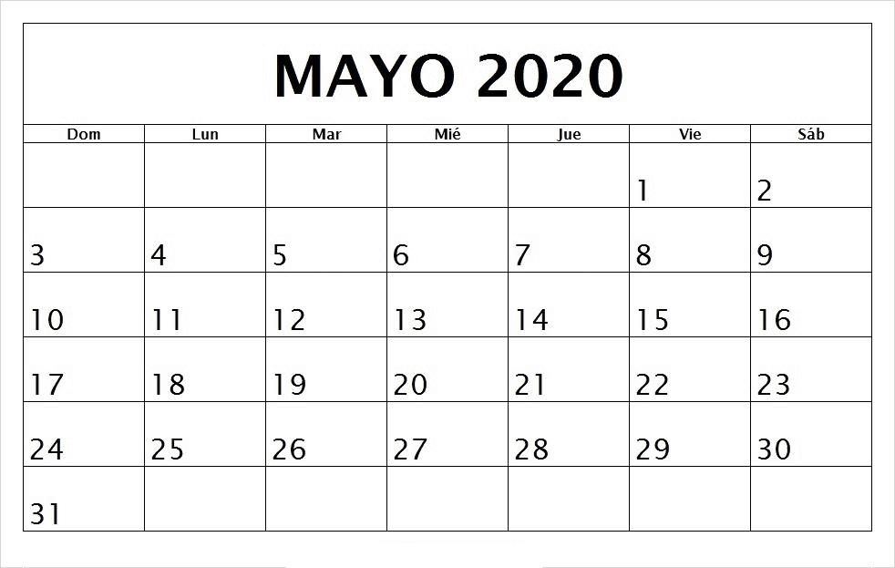Calendario Mayo 2020 Para Imprimir En Blanco
