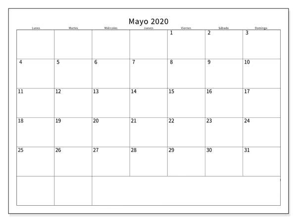Calendario Mayo 2020 Para Imprimir