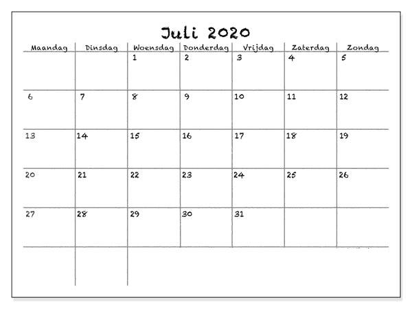 Frei Kalender 2020 Juli