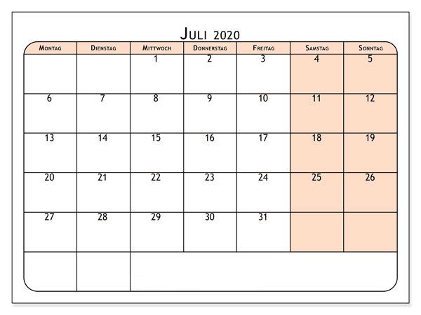 Frei Kalender Juli 2020 Zum Ausdrucken