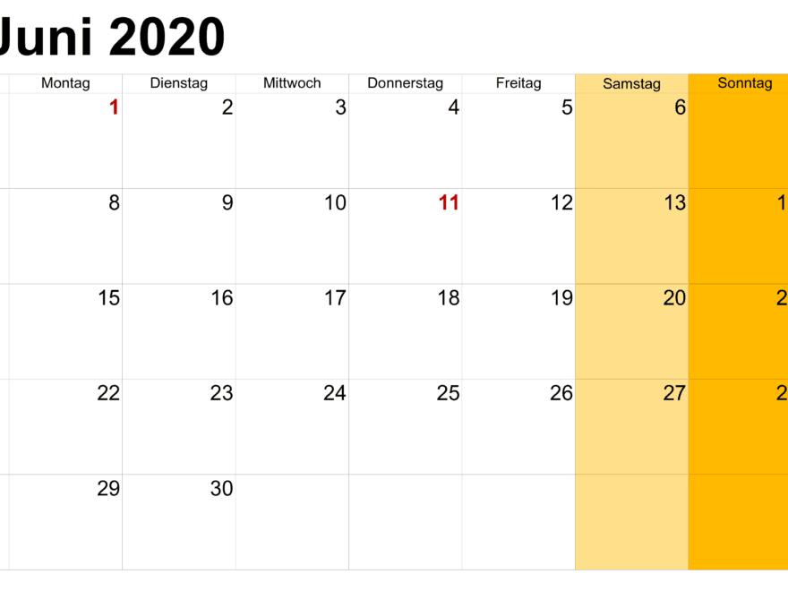 Frei Kalender Juni 2020 Mit Feiertagen