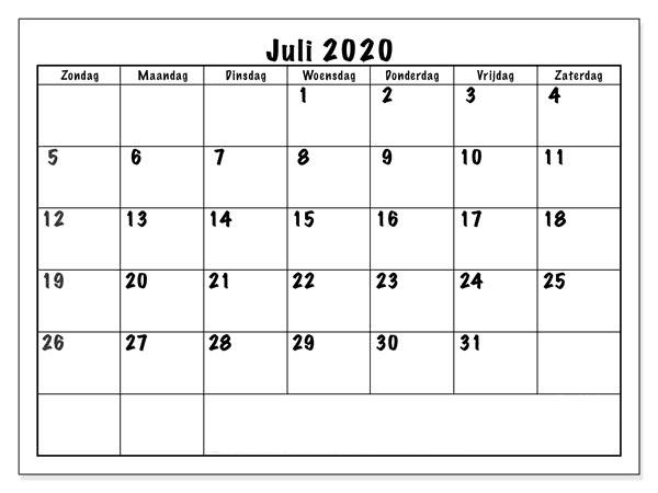 Kalender 2020 Juli Blatt