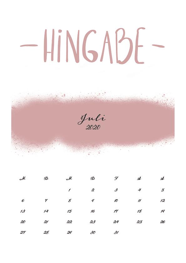 Kalender 2020 Juli Drucken