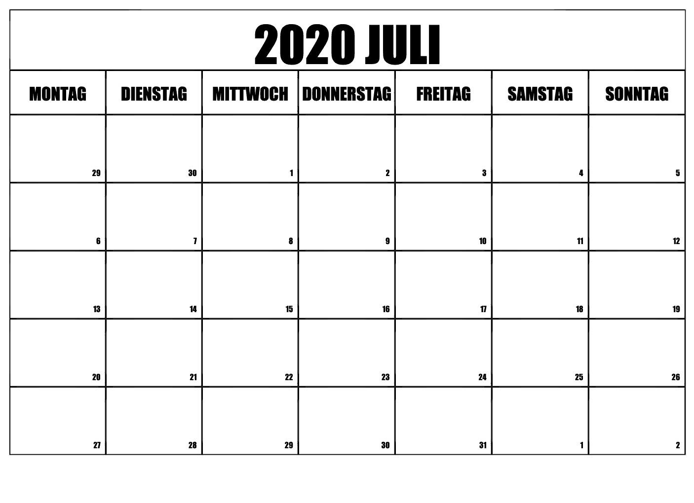 Kalender 2020 Juli Leer