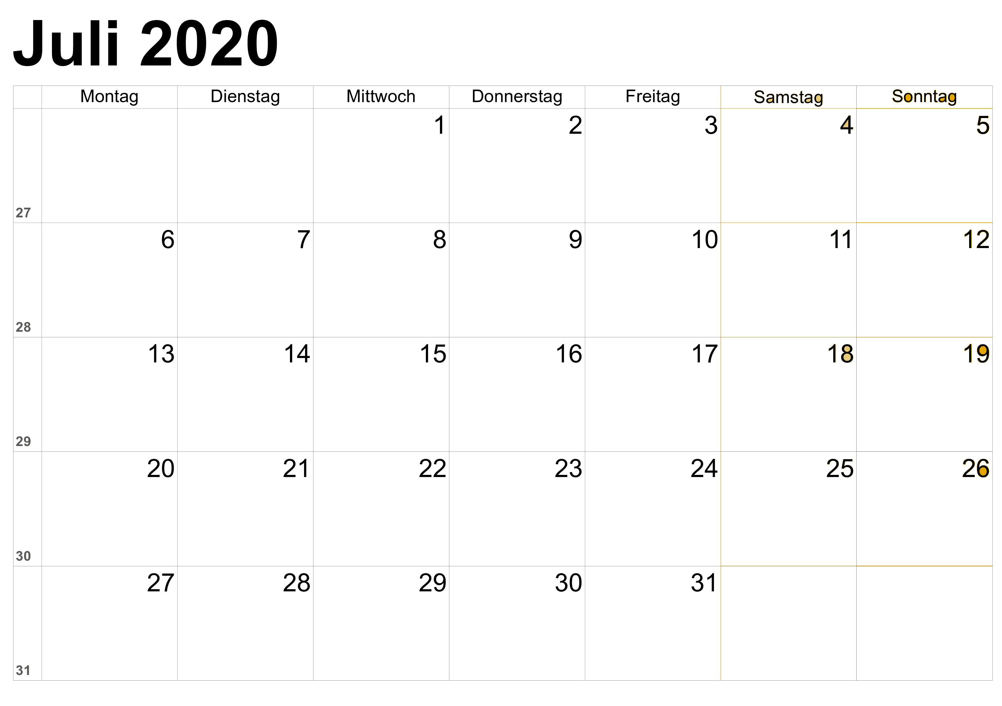 Kalender Juli 2020 Blatt