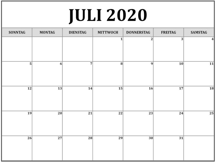Kalender Juli 2020 Feiertage