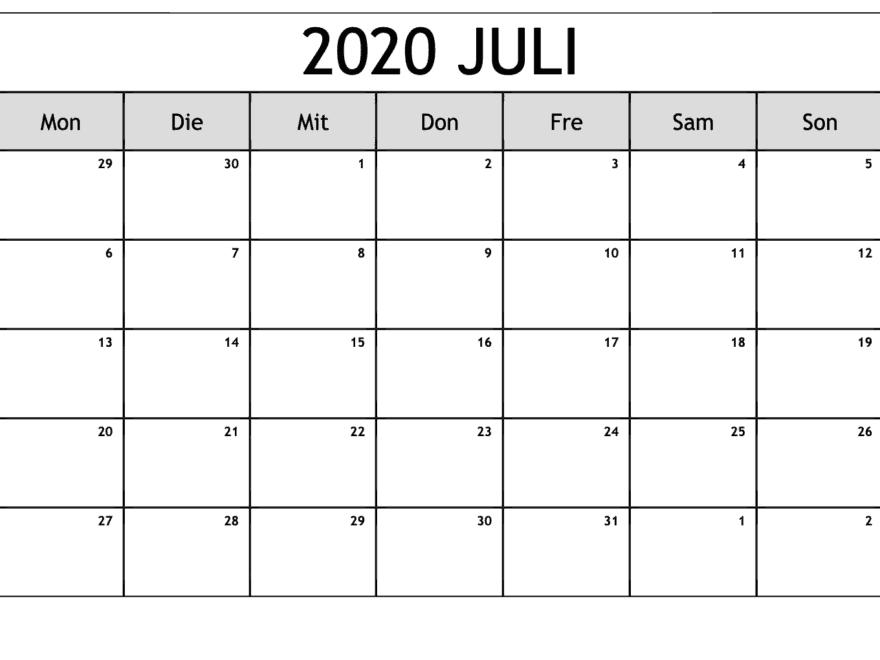 Kalender Juli 2020 Mit Feiertagen Stile