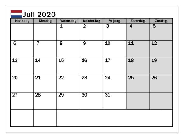 Kalender Juli 2020 Nederland