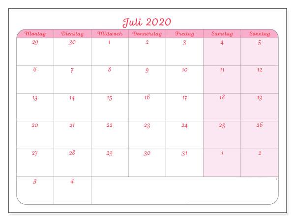 Kalender Juli 2020 Zum Ausdrucken Leer
