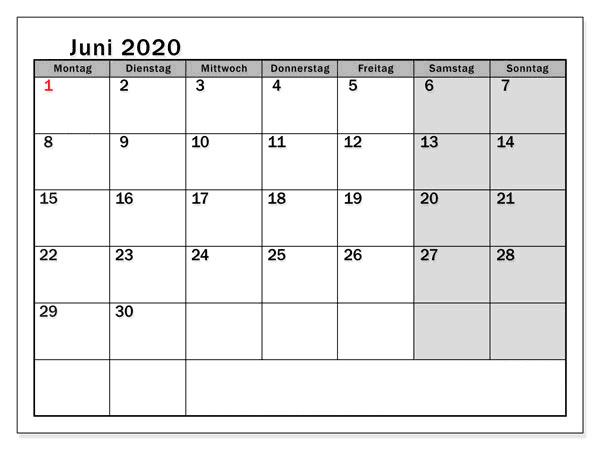 Kalender Juni 2020 Mit Feiertagen Anpassen