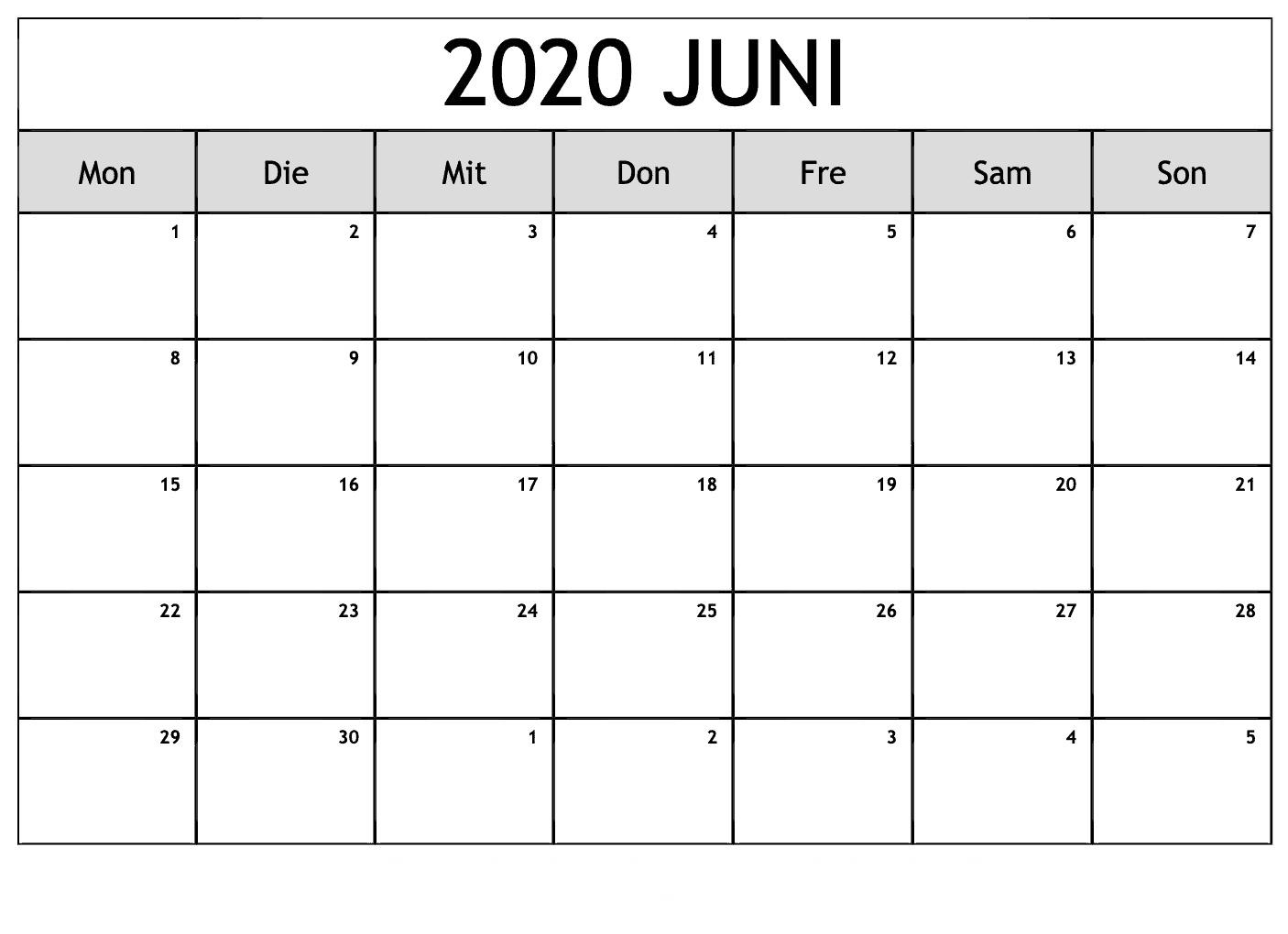 Kalender Juni 2020 Mit Feiertagen Monats
