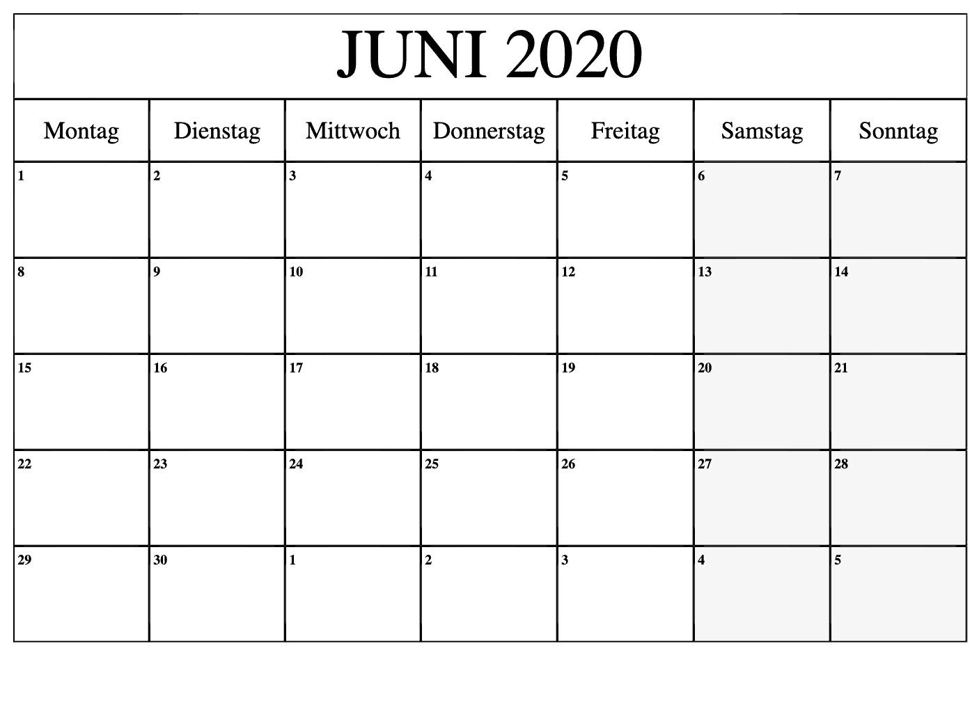 Kalender Juni 2020 Mit Feiertagen Planer