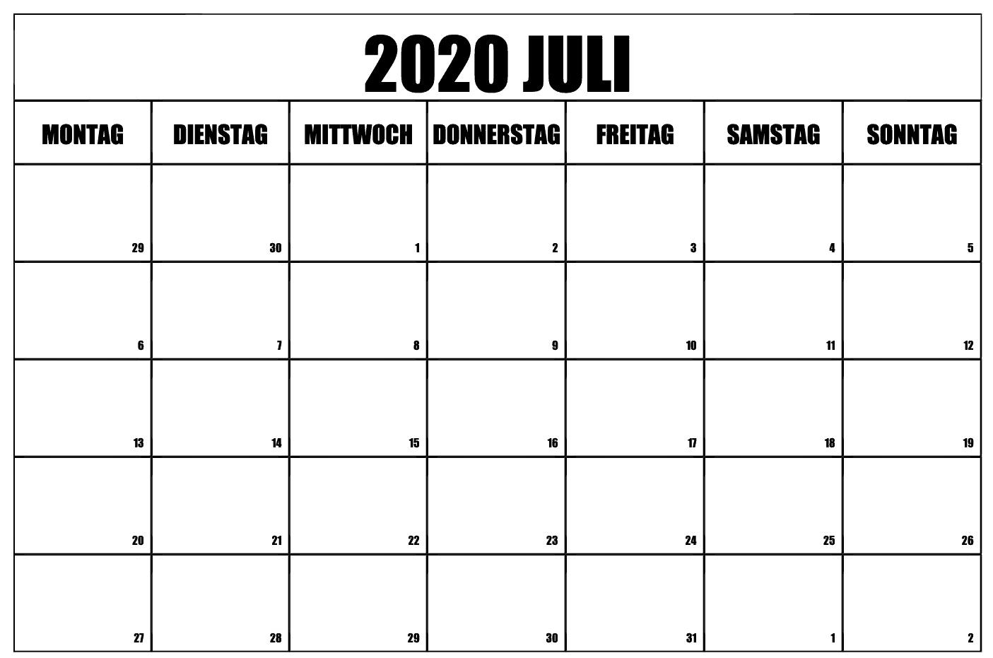 Kostenlos Zum Ausdrucken Juli 2020 Kalender