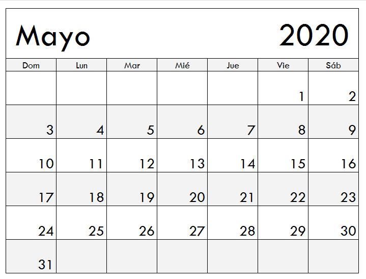 Mayo 2020 Calendario Bonito