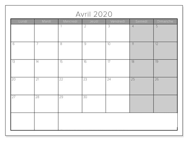 Avril Calendrier 2020 Blanc