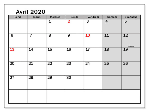Avril Calendrier 2020 Modes