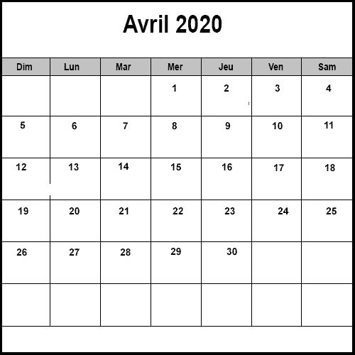 Avril Calendrier 2020 Table