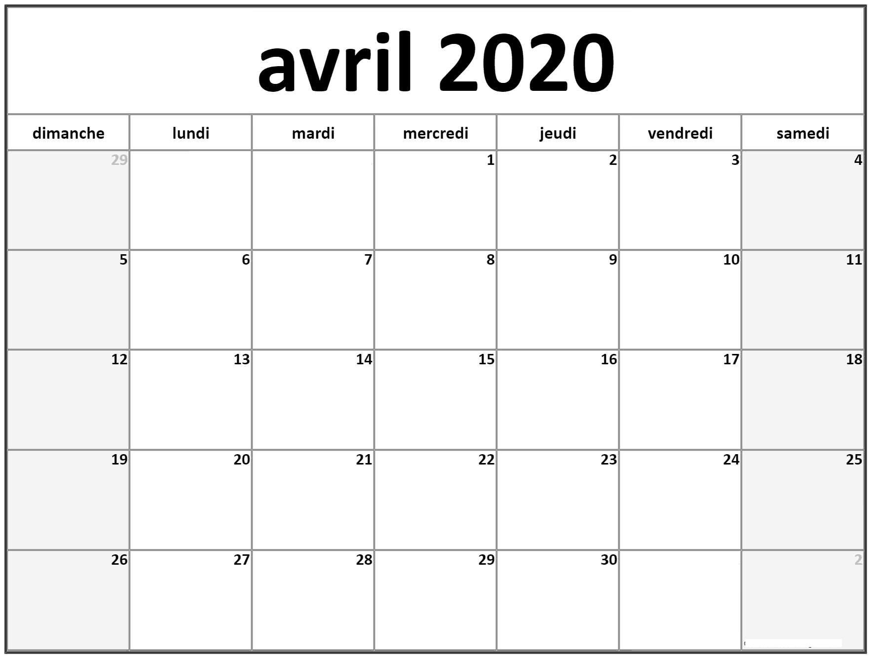 Avril Calendrier 2020