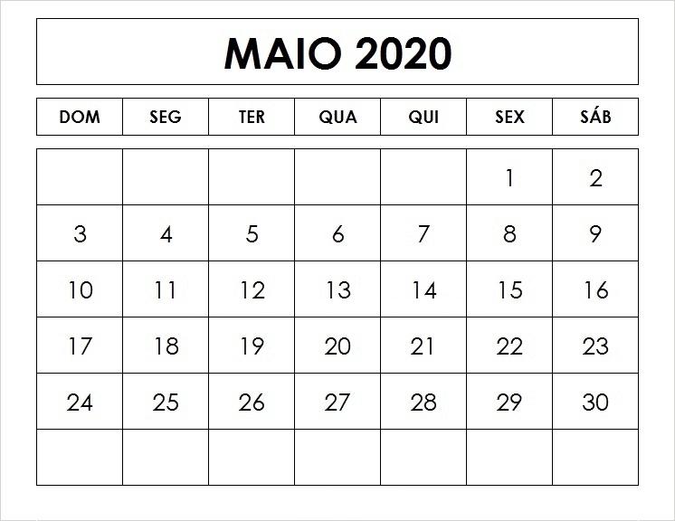 Calendário 2020 Maio Feriados