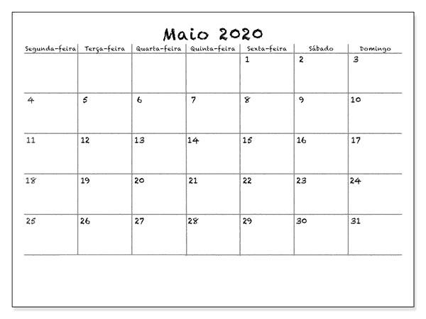 Calendário 2020 Maio Gratuito