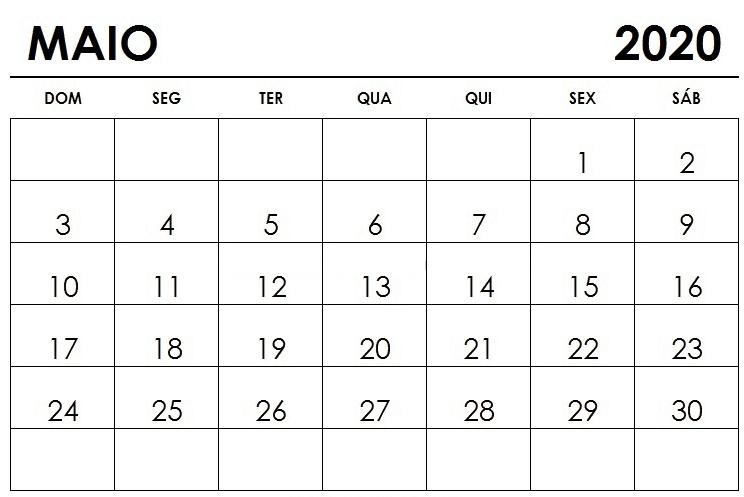 Calendário 2020 Maio Livre