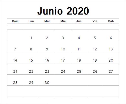 Calendario Junio 2020 Modelo