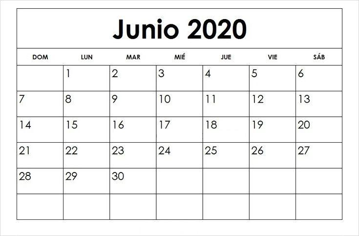 Calendario Junio 2020 Para Imprimir Grande