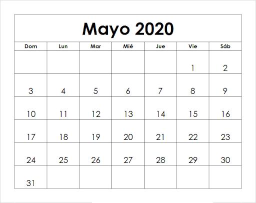 Calendario Mayo 2020 Chile Mes