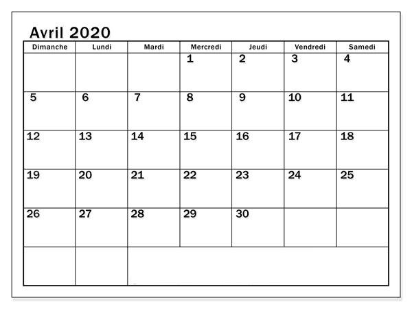 Calendrier 2020 Avril Imprimer