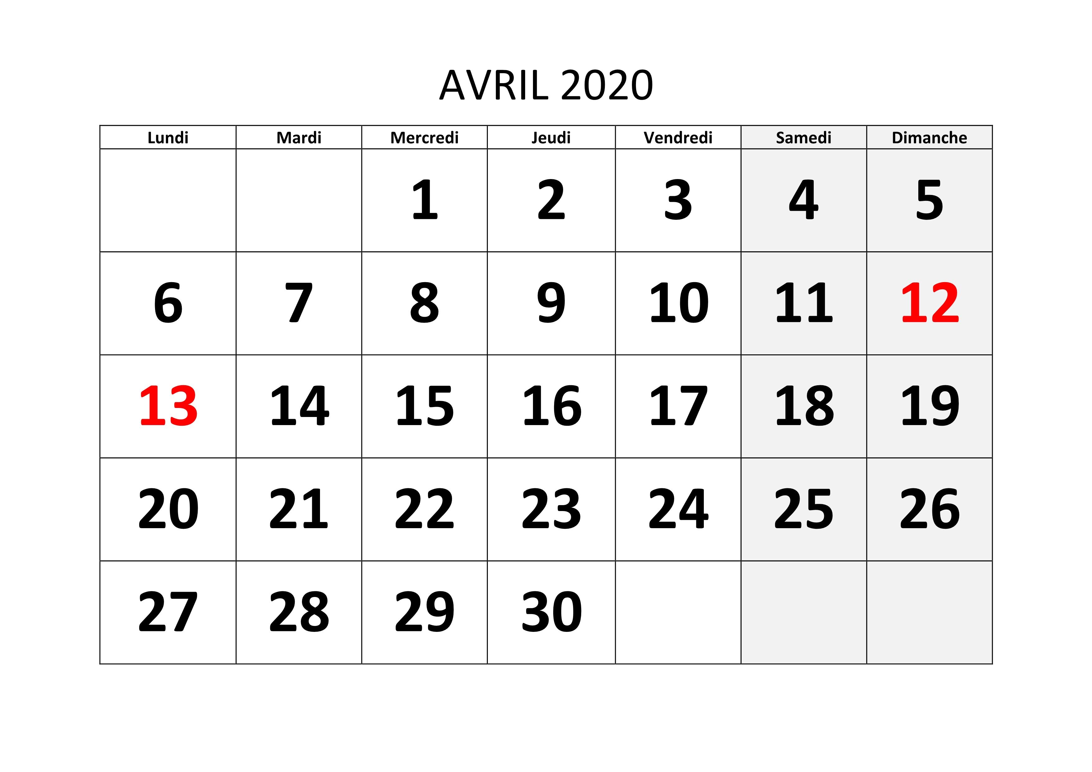 Calendrier 2020 Avril Modele