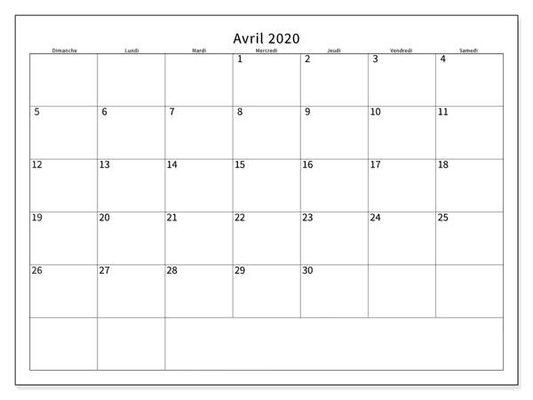 Calendrier 2020 Avril Mois