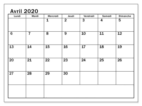 Calendrier 2020 Avril Word