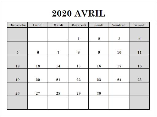 Calendrier Avril 2020 PDF Mensuel