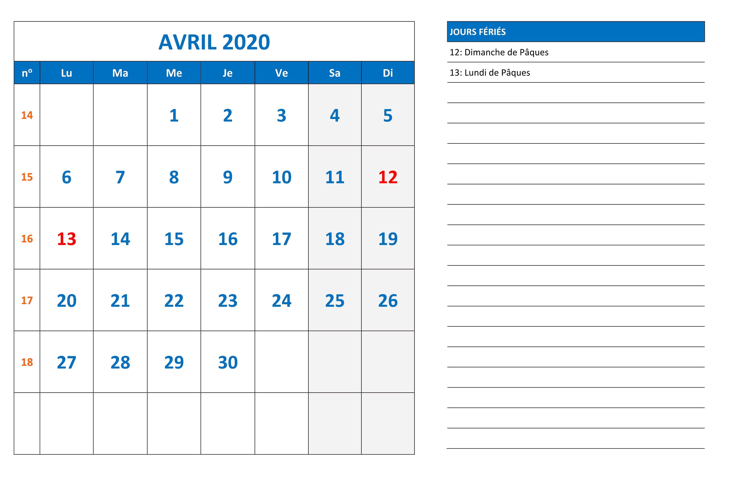 Calendrier Avril 2020 PDF Modele