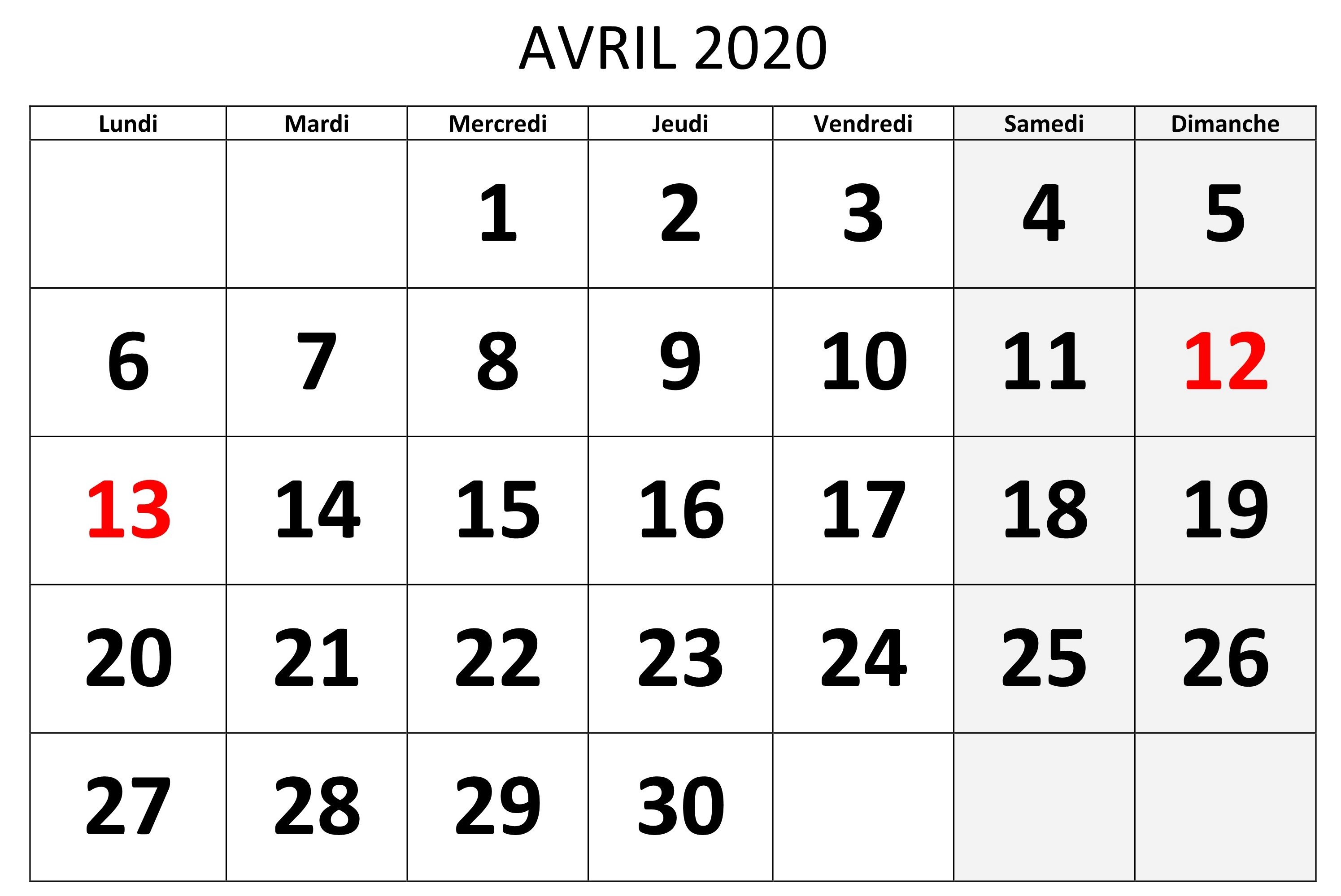 Calendrier Avril 2020 PDF Notes