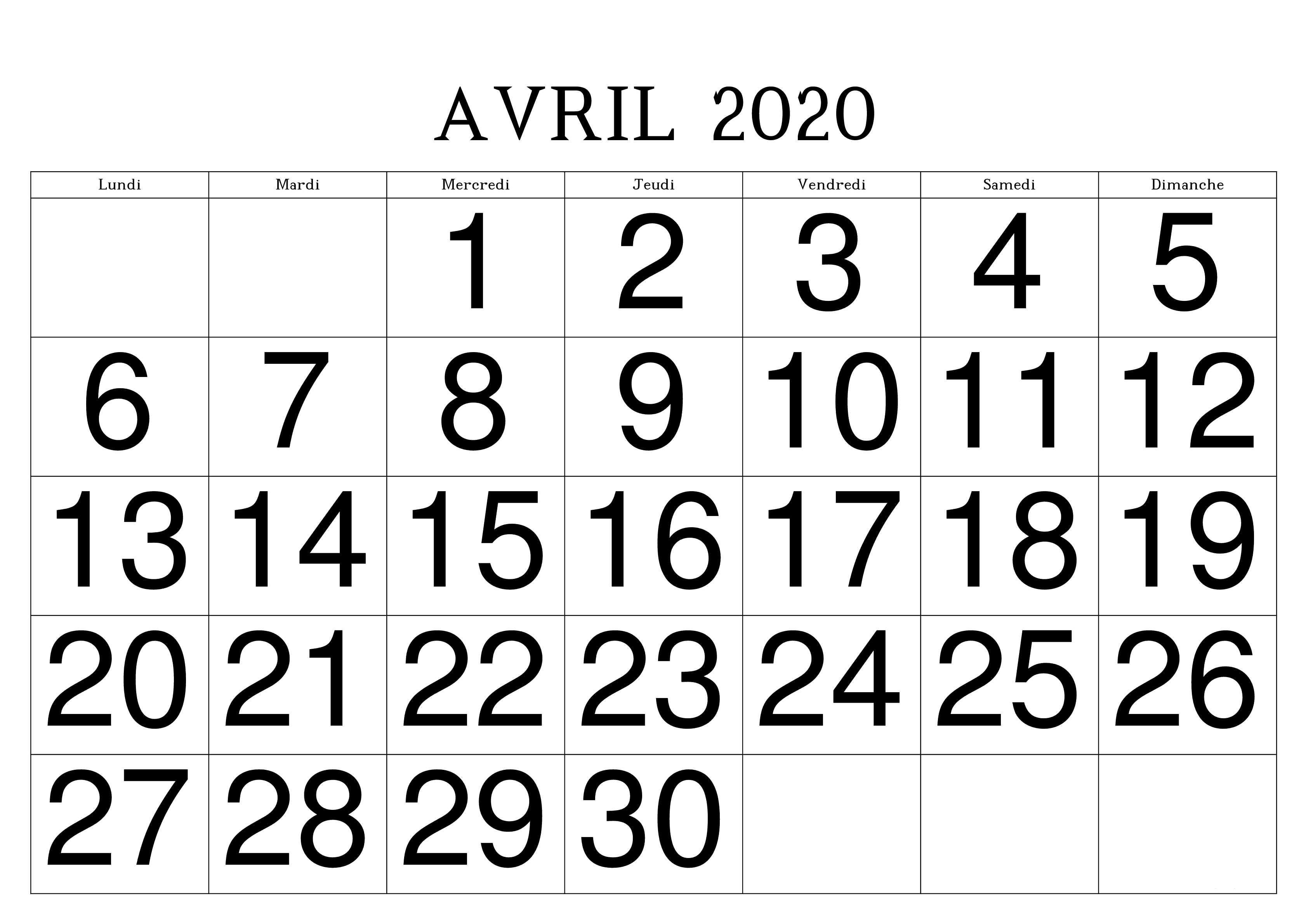 Calendrier Avril 2020 PDF Table
