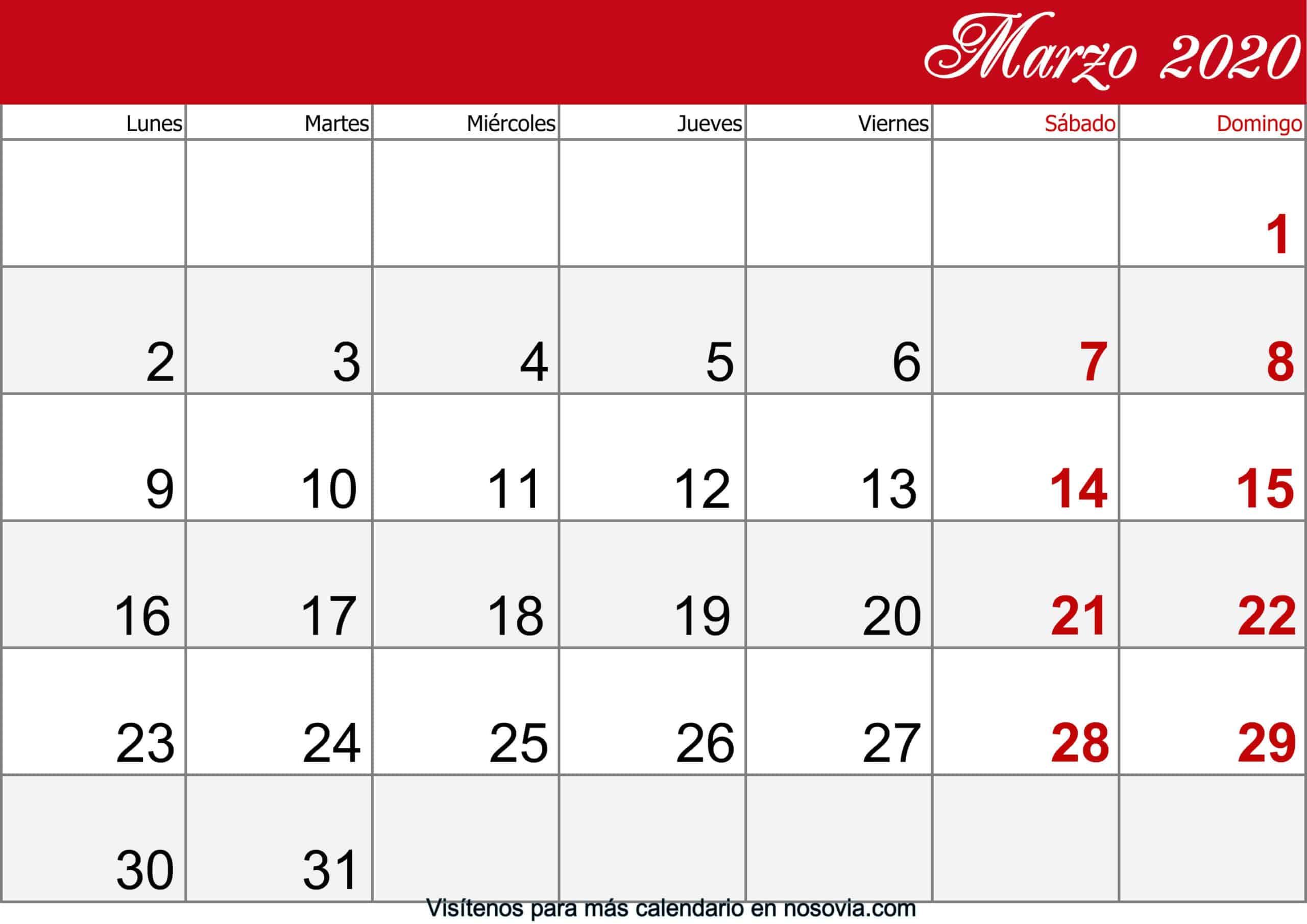Calendario Marzo 2020 Con Festivos imprimible