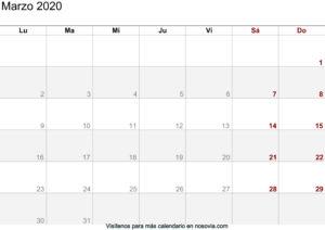 Calendario Marzo 2020 imágenes para imprimir