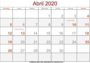 Calendario abril 2020 Con Festivos Formato