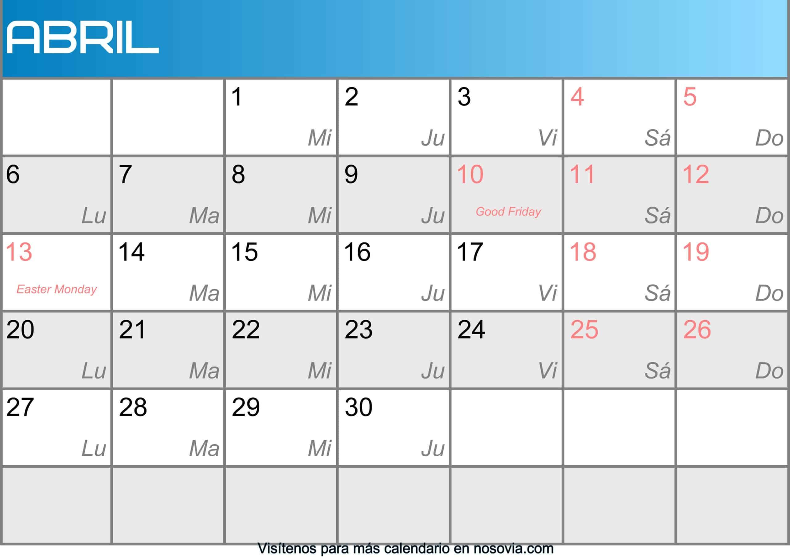 Calendario abril 2020 Con Festivos Imágenes