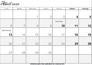Calendario abril 2020 Con Festivos PDF