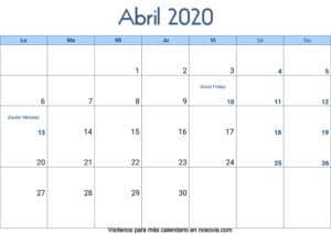 Calendario abril 2020 Con Festivos Palabra