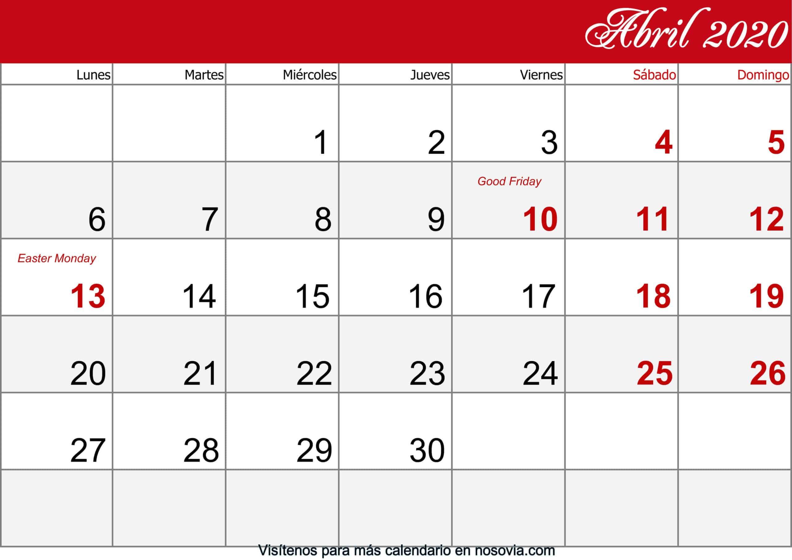 Calendario abril 2020 Con Festivos imprimible